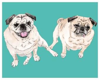 Custom DIGITAL Double Pet Portrait. Christmas Gift. Custom portrait. Pet Portrait. Dog portrait. Printable art. Anniversary Gift. Pet print