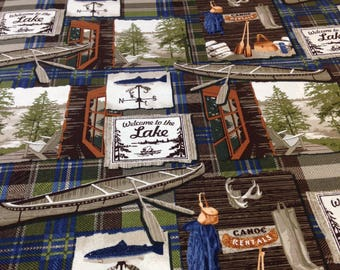 Fishing, canoe on the lake, fisherman fabric, Fishing lodge fabric by Penny Rose, blue or red, by the yard, Coordinate fabrics pictured