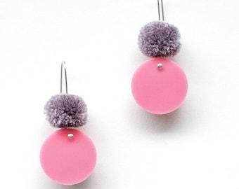 Spot Pom Drop - Lolly and Grey - Laser Cut Pom Pom Drop Earrings - Each To Own
