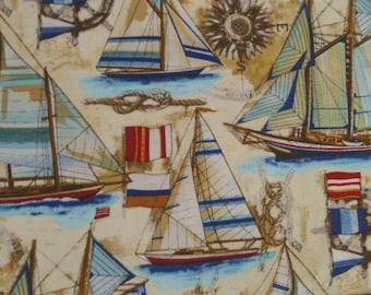 Robert Kaufman Bayshore Collection 2, Vintage, EOC-1323-200, Nautical, Sailboats, Ocean