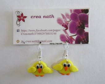 earring type polymer clay yellow chick