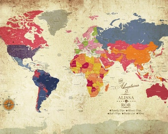 Pretty world map art etsy gift for mom poster of the world 24x36 inches colorful vintage honeymoon gumiabroncs Images