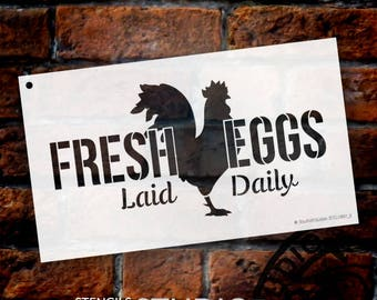 Fresh Eggs - Chicken - Word Art Stencil - Select Size - STCL1997 - by StudioR12