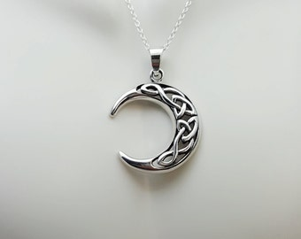Celtic moon phase etsy celtic crescent moon necklace silver moon sterling silver crescent moon pendant celtic knot moon moon phase necklace celestial aloadofball Image collections