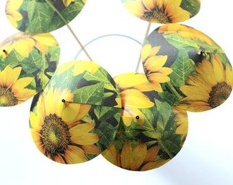 Sunflower Drink Umbrellas, Sunflower Wedding, Drink Decor, Set of 6