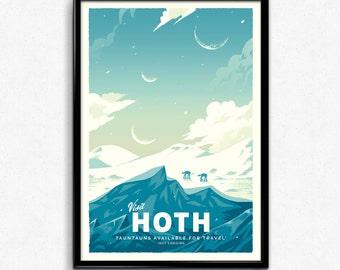 Hoth - Star Wars Retro Travel Poster Print