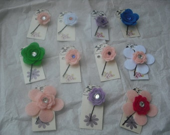 45 Assorted Random Mix Polyester Flower Bobby Pin/Felt/Beads-Craft Shows-Party-Holiday-Handmade Gift-Free Shipping.