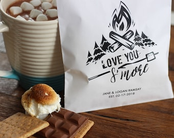 Love you S'more Wedding Favor Bags. Smores. 20 Wax Lined Bags. Wedding, Shower. Engagement. Campfire party favor.