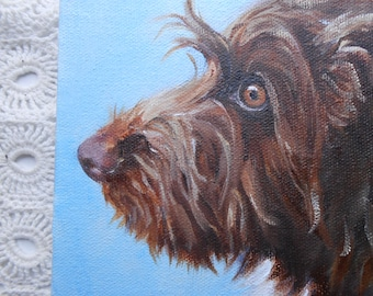 Father's Day Gift, Custom Pet Portrait Painting by Artist Robin Zebley, Wire Haired Pointing Griffon or any breed