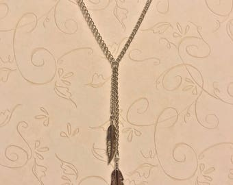 Double Feather Lariat Necklace | Long Feather Necklace | Silver Feather Necklace | Brass Feather Necklace