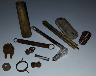 Assemblage items/ altered art supplies/ industrial salvage/ odds and ends/ rusty metals/ old springs/ collage materials/ unique craft supply