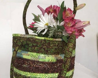 Hand crafted Batik covered Coil rope bag, Clothesline technique
