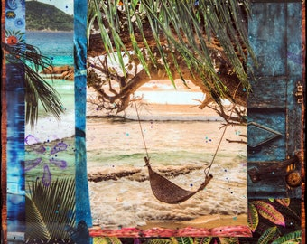 NEW, SOJOURN, 3 Sizes, 8x10, 11x14, 16x20, Signed Matted Print, collage, flowers, palm trees, hammock, vacation, travel, water, palms, sea
