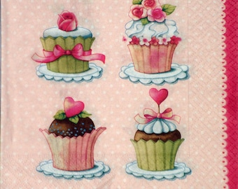 3 paper napkins for decoupage, Sweets, Cup cakes, Tea Party, 33x33cm (no.30)