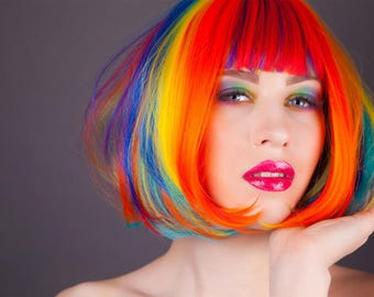 Rainbow Wig - Perfect for Pride Parade to celebrate LGBT Gay Lesbian - Special Pride 2018 Discount Price! FREE SHIPPING