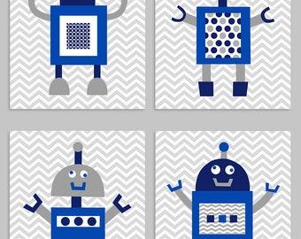 Robot Nursery Art, Grey Navy Royal, Boy Room Decor, Robot Nursery Decor, Robot Canvas Art, Baby Boy Nursery, Baby Shower, Nursery Art Prints
