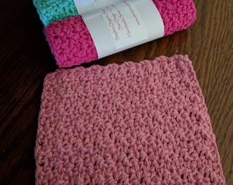 Crochet Wash Cloths Spa Cloths Crochet Dish Cloths - Choose Colors - Pack of 3 -  READY TO SHIP