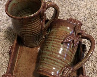 Falls Creek Green Wheel Thrown Handmade Pottery mugs