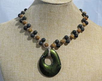 Green freeform pendant with grainstone and Russian serpentine gemstone beads. Adjustable length necklace.  NECK-510