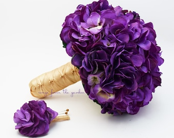 Wedding Bouquet Purple Silk Hydrangea Gold Satin Ribbon Or Choose Your Cusotm Color - With Matching Groom's Boutonniere