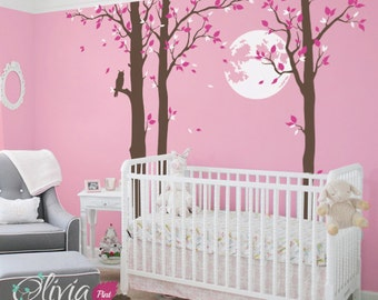 Large Tree and Moon Removable Vinyl Wall Decal Sticker - NT013