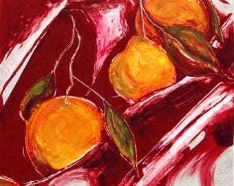 Tangerines - original fine art print, monotype, dynamic color, delicious subject