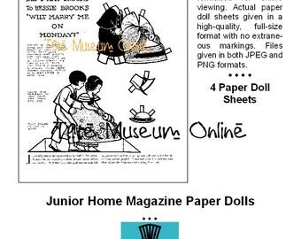 Vintage Paper Dolls Nursery Rhyme Doll Sheets Childrens Magazine Set Of 4 Coloring Book PDF Digital Download BONUS Guide
