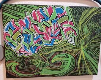 Original Oil Graffiti Painting 8.75 X 12 Canvas