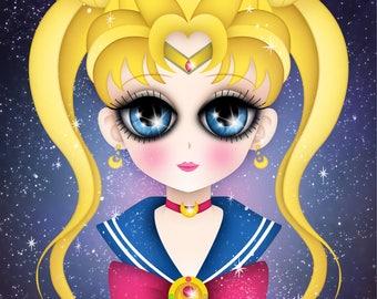Tribute to Sailor Moon, Postcard, 5x7 inches, Digital Illustration - Hommage à Sailor Moon