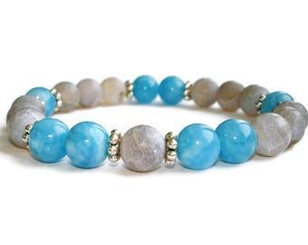March birthstone jewelry Aquamarine bracelet Gemstone jewelry bracelets for women Gift for nurse Blue bracelet Blue jewelry set Aquamarin