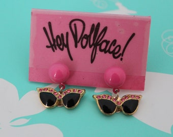 Retro Sunglasses Dangle Earrings - Pink and Black