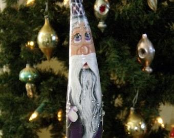 Hand Painted Purple Snowflake and Crystal Gems Gourd Ornament - Folk Art Santa - Primitive Santa - Santa Gourd - Christmas Ornament - Santa