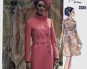 Vintage 1970s MOD Side Button A Line Dress Vogue Couturier Design 2325 Fabiani of Italy Designer Sewing Pattern Sz 14 B36 + Sew in Label