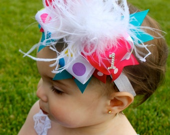 Over The Top Birthday Bow -  Birthday Headband - Birthday  Hair Bow