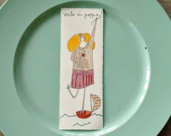 Bookmark - booklover - books - illustration on paper - giadafloris - reader gift - sailor - books