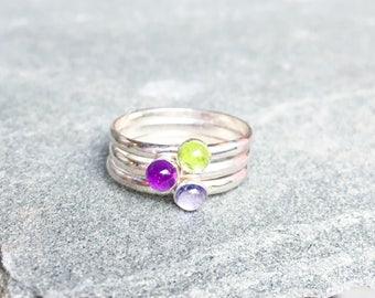 Everly Rainbow Gemstone Stacking Rings