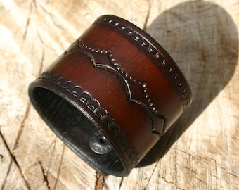Wide Leather Wristcuff / Brown Leather With Black Edging Dual Snap Wristcuff / Custom Sized To Your Wrist Made Just For You! PegCity Leather