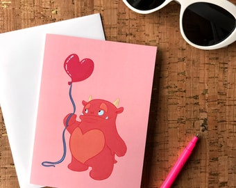 Mother's Day Card | Thank You |Engagement | Birthday Card | Galentine Card | Love | Pink Stanley Monster with Heart Balloon Greeting Card