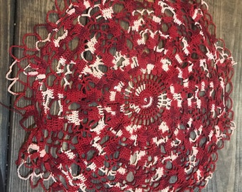 Vintage deep red doily. Hand crocheted.