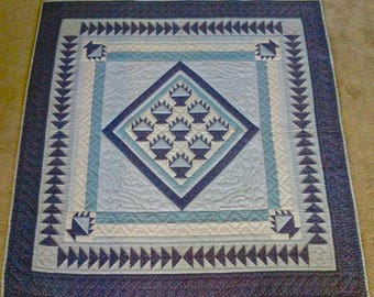 Blue and White Quilt Lap Size or Wall Hanging (54 inches square)