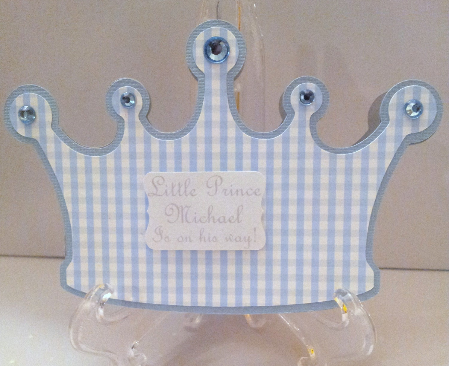 Little Prince Crown Invitation New Baby Boy Announcement