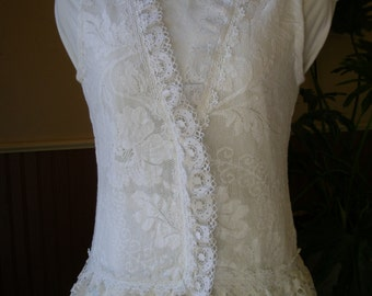 Vintage Laces Upcycled Cotton Lace Boho Top S OOAK