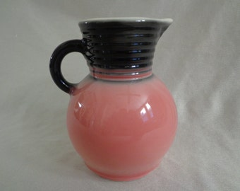 "Vintage 1950's Small 5"" Pitcher or Creamer, Charcoal Gray and Pink"