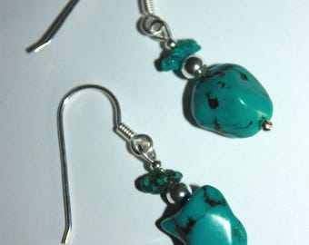 Natural turquoise earrings, 925 sterling silver.