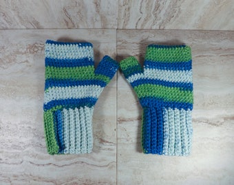 Blue and Green Fingerless Gloves, Texting Gloves, Winter Gloves