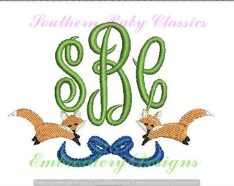 Fox Bow Swag Monogram Frame Fill Embroidery Design Designs File Embroidery Machine Instant Download Fall Autumn Southern Hunt Winter