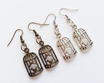 BIRDCAGE Earrings Birdcage Jewelry Bird Lovers Gift Animal Earrings Animal Jewelry Bird Earrings Bird Jewelry Animal Lovers Gift Pet Gift