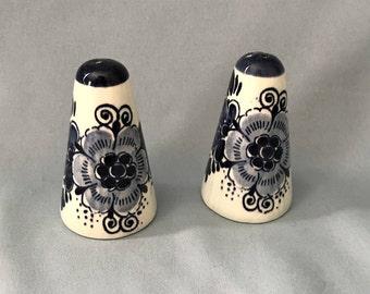 Vintage Hand Painted Porcelain Delft Salt and Pepper Shakers with Floral Design, Holland