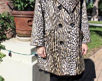 Vintage Leopard Print winter coat - large/XL - Swing coat - faux fur - fake fur animal print - for the snow -  retro rockabilly