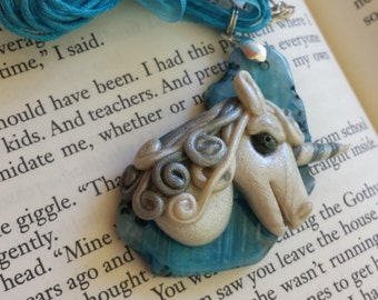 Pearl Unicorn on Blue Tinted Agate Pendant Necklace - Hand Sculpted, OOAK